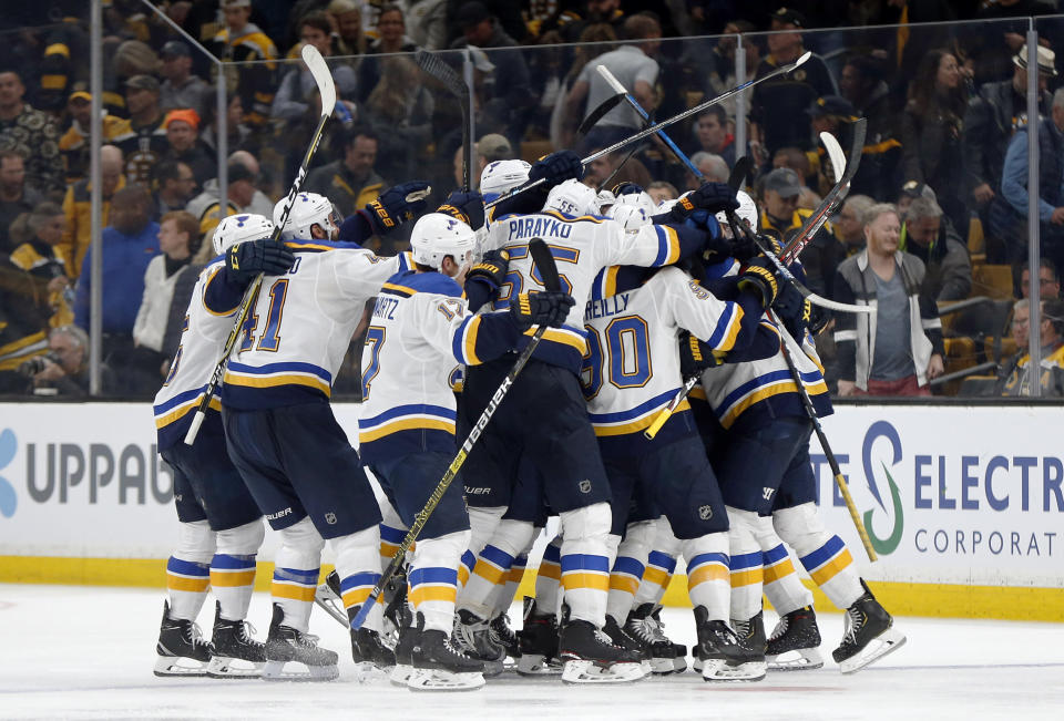 CORRECTS SOURCE AND PHOTOGRAPHER'S NAME - The St. Louis Blues mob Carl Gunnarsson, of Sweden, who scored the winning goal against the Boston Bruins during the first overtime period in Game 2 of the NHL hockey Stanley Cup Final, Wednesday, May 29, 2019, in Boston. (AP Photo/Michael Dwyer)
