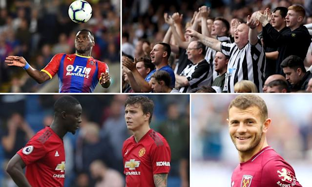 Clockwise from top left: Crystal Palace striker Christian Benteke, Newcastle United supporters, West Ham's Jack Wilshere and Manchester United defenders Eric Bailly and Victor Lindelöf.