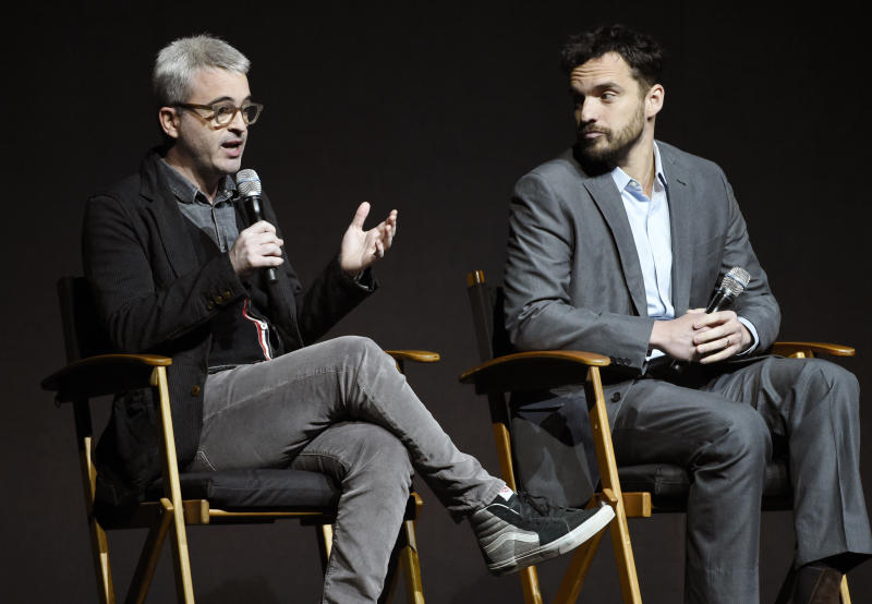 "Alex Kurtzman, left, director of the upcoming film ""The Mummy,"" and cast member Jake Johnson discuss the film during the Universal Pictures presentation at CinemaCon 2017 at Caesars Palace on Wednesday, March 29, 2017, in Las Vegas. (Photo by Chris Pizzello/Invision/AP)"