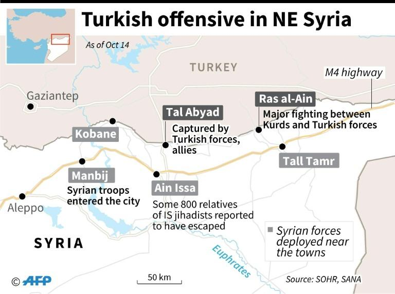 Map of northeast Syria locating Tal Abyad and Ras al-Ain and areas where Syrian forces are deployed, as well as the M4 highway (AFP Photo/)