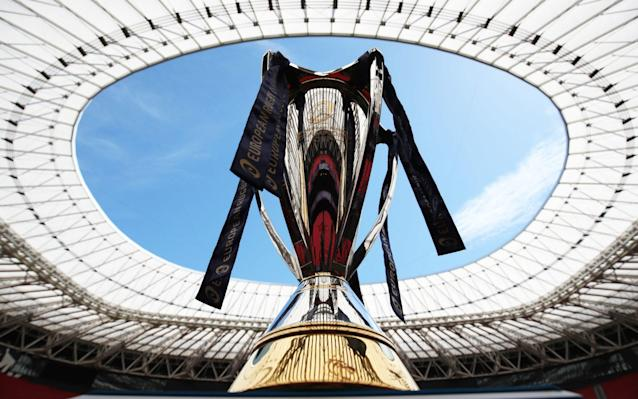 The Champions Cup on display during the captain's run at the San Mames Stadium, Bilbao - PA