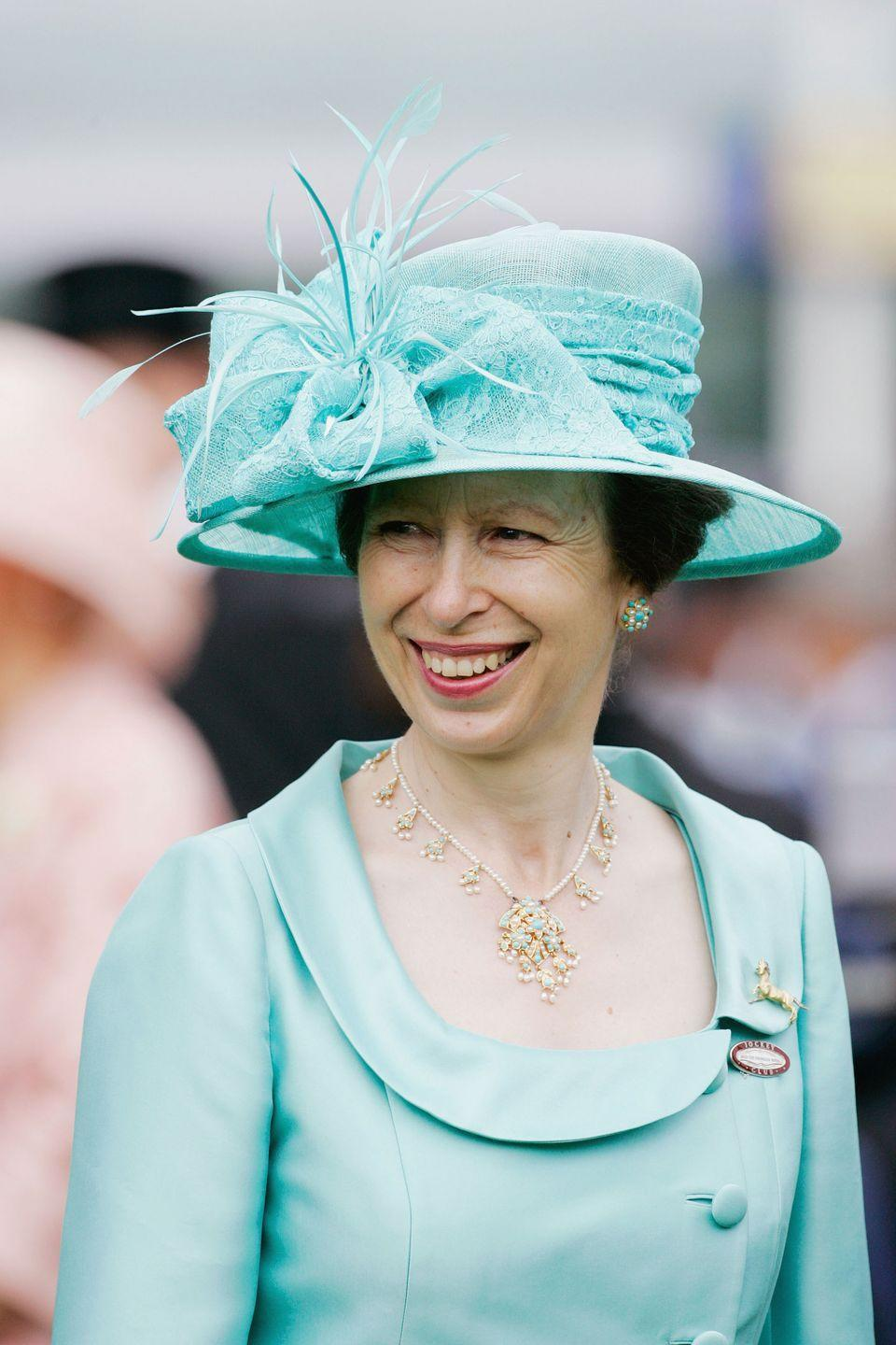 <p>On an official visit to England in 1966, Pakistan's President Ayub Khan came bearing a gift for Queen Elizabeth: a two-row turquoise, pearl, and gold necklace. A few years later, she refashioned the piece by shortening the necklace and creating a pair of matching earrings with the leftover pendants. She then gifted the set to her daughter, Princess Anne, who wore the jewels often throughout the '70s. The gems last appeared on the princess in 2007, at Royal Ascot.<br></p>
