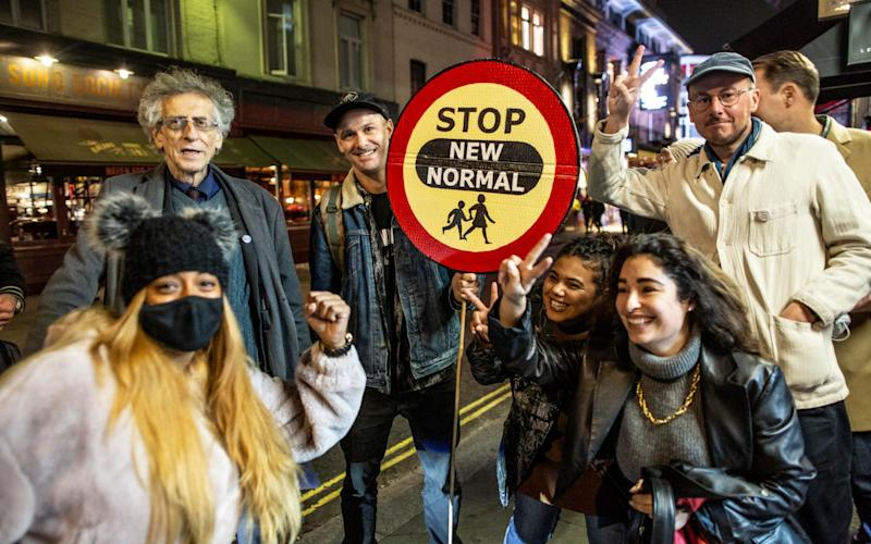 Piers Corbyn, brother of former labour Leader Jeremy Corbyn on Old Compton Street during what is percieved as the Last Night of Freedom as Tier 2 Lockdown is enforced on gatherings at restaurants and bars in Soho - JEFF GILBERT