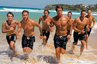 <p>The lifeguards frolic in the water for the sizzling shoot.</p>