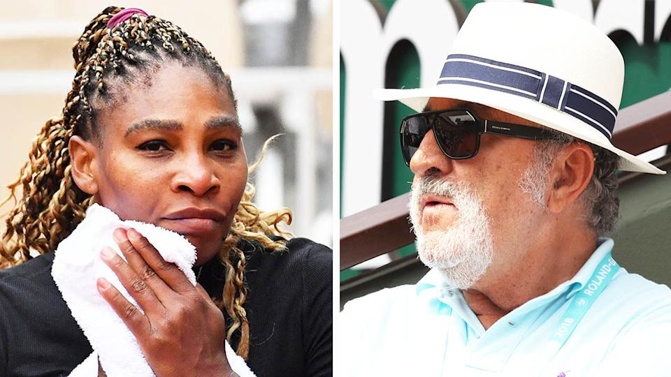 Serena Williams' (pictured left) sitting down during the French Open and Ion Tiriac (pictured right) watching a tennis match.