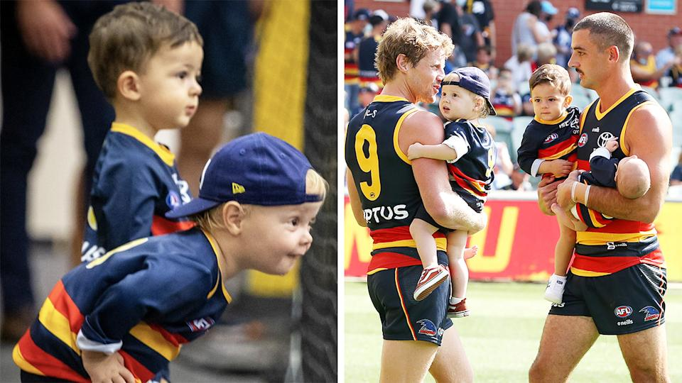 A heartwarming image of Hugo Walker and Sonny Sloane posted after Adelaide's upset win over Geelong has warmed the hearts of Crows fans. Pictures: Twitter/Getty Images