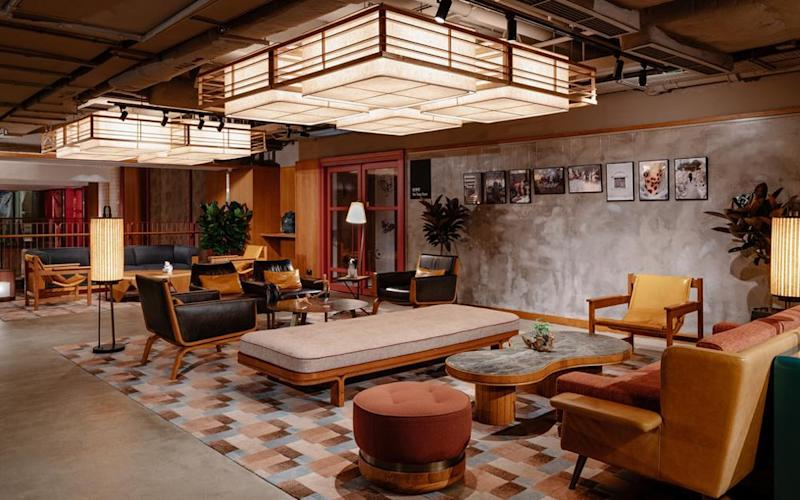 At Hotel Eaton's heart is a large free-flowing co-working space sporting murals by up-and-coming artists, a screening room, a music studio and an office dedicated to the Justice Centre Hong Kong