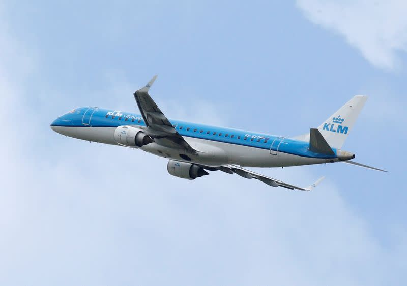 FILE PHOTO: A KLM commercial passenger jet takes off in Blagnac near Toulouse