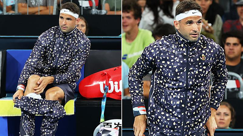 Seen here, Grigor Dimitrov's tracksuit created plenty of buzz on day one of the Australian Open.