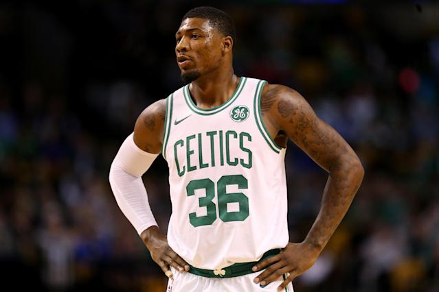 "<a class=""link rapid-noclick-resp"" href=""/nba/players/5317/"" data-ylk=""slk:Marcus Smart"">Marcus Smart</a> is in his fourth year with the Celtics. (Getty Images)"