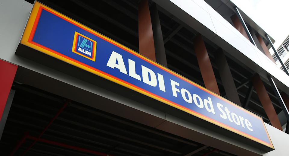 Image shows front of Aldi store.