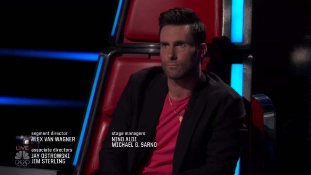 Adam Levine's reaction to Adam Cunningham being saved. (Photo: NBC)