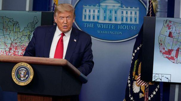 PHOTO: President Donald Trump speaks during a news conference at the White House, Thursday, July 23, 2020. (Evan Vucci/AP)