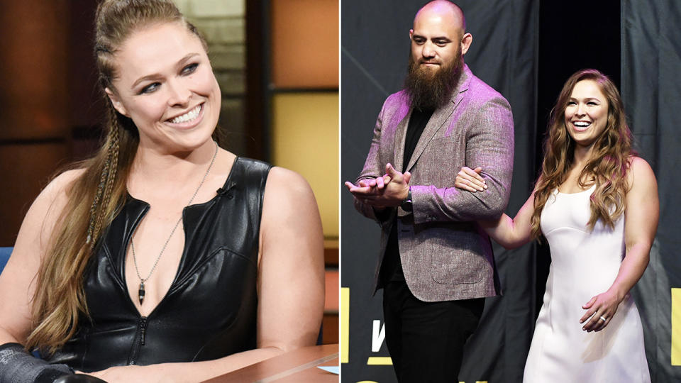 Ronda Rousey, pictured here with husband Lucas Browne.