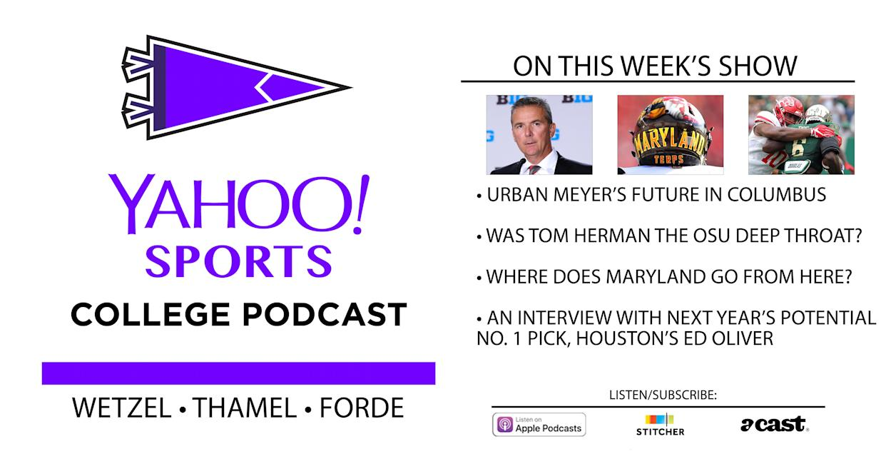 On this week's College Football Podcast, Dan Wetzel, Pat Forde and Pete Thamel discuss Urban Meyer's situation and have an interview with Houston's Ed Oliver.