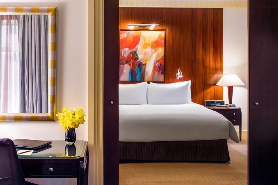Despite its grand size, this hotel in the heart of the Theater District maintains a personal touch. A lobby filled with fresh flowers gives way to 30 floors of rooms and suites covered in warm colors, featuring contemporary furnishings and marble bathrooms. Though the environs may be vintage Manhattan, everything about Sofitel is French, from its management to an in-house brasserie that's reminiscent of classic Paris.