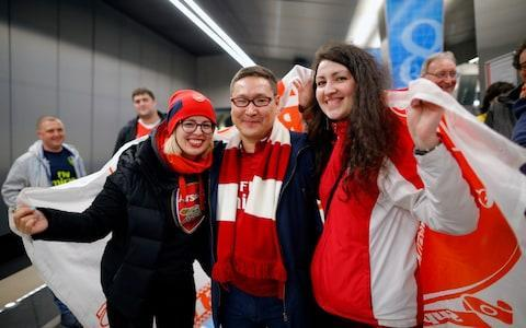 Arsenal fans in Moscow - Credit: AP