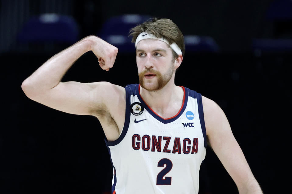 INDIANAPOLIS, INDIANA - MARCH 30: Drew Timme #2 of the Gonzaga Bulldogs reacts during the first half against the USC Trojans in the Elite Eight round game of the 2021 NCAA Men's Basketball Tournament at Lucas Oil Stadium on March 30, 2021 in Indianapolis, Indiana. (Photo by Tim Nwachukwu/Getty Images)