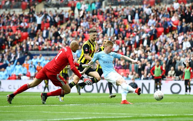 Kevin De Bruyne of Manchester City scores his team's third goal during the FA Cup Final match between Manchester City and Watford at Wembley Stadium.