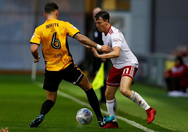 "Soccer Football - League Two - Newport County AFC v Accrington Stanley - Rodney Parade, Newport, Britain - April 24, 2018 Accrington Stanley's Sean McConville in action with Newport County's Ben White Action Images/Jason Cairnduff EDITORIAL USE ONLY. No use with unauthorized audio, video, data, fixture lists, club/league logos or ""live"" services. Online in-match use limited to 75 images, no video emulation. No use in betting, games or single club/league/player publications. Please contact your account representative for further details."