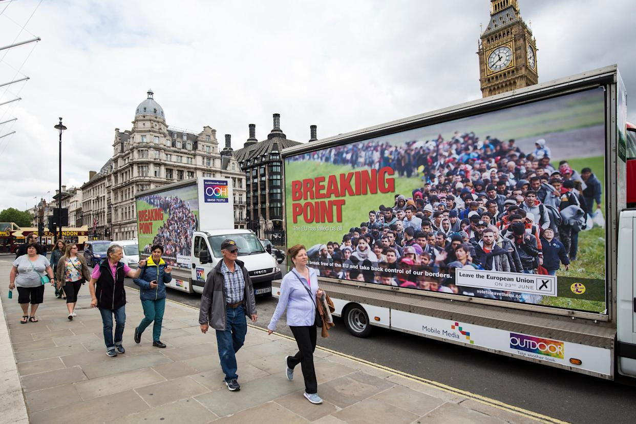 Vans displaying the UK Independence Party's new EU referendum campaign poster near Parliament in June 2016. (Photo: Jack Taylor via Getty Images)