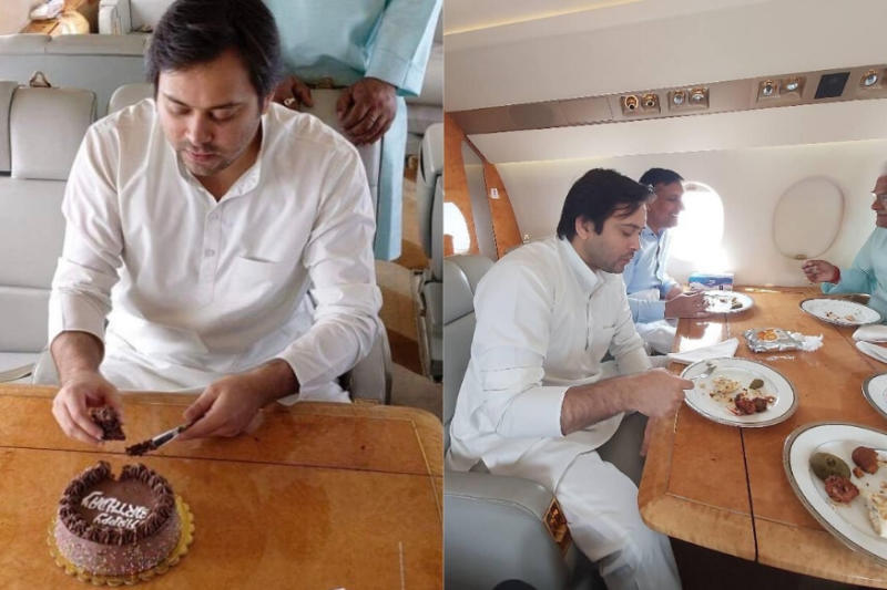 Tejashwi Yadav Celebrates Birthday in Chartered Plane, Draws Flak on Internet