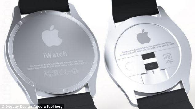 "<p>The rear view of Anders Kjellberg's iWatch design reveals the space where users would insert their SIM card under the back plate.</p> <p>For more designs by Kjellberg, visit: <a href=""http://dogday-design.se/?portfolio=iwatch"" rel=""nofollow noopener"" target=""_blank"" data-ylk=""slk:http://dogday-design.se/?portfolio=iwatch"" class=""link rapid-noclick-resp"">http://dogday-design.se/?portfolio=iwatch</a></p>"