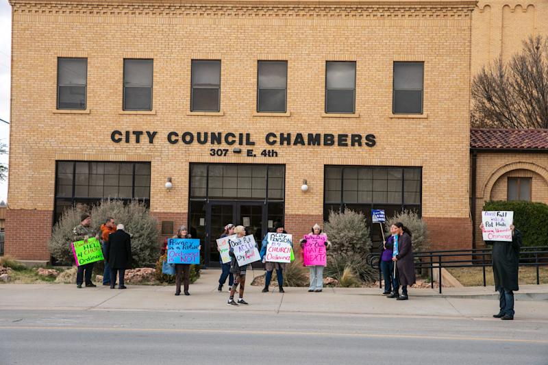 Protesters in Big Spring, Texas, ahead of a vote on a city ordinance prohibiting abortions within city limits. Big Spring was not one of the towns sued by the ACLU. (Photo: Ilana Panich-Linsman for HuffPost)