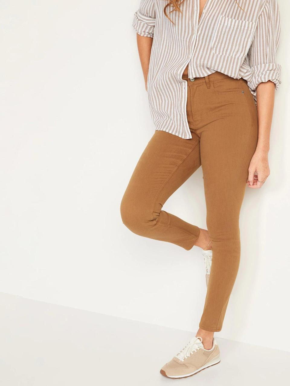 <p>This autumn, match <span>Old Navy High-Waisted Rockstar Super Skinny Pop-Color Jeans</span> ($40) with an oversized sweater, or tuck in something buttoned instead.</p>