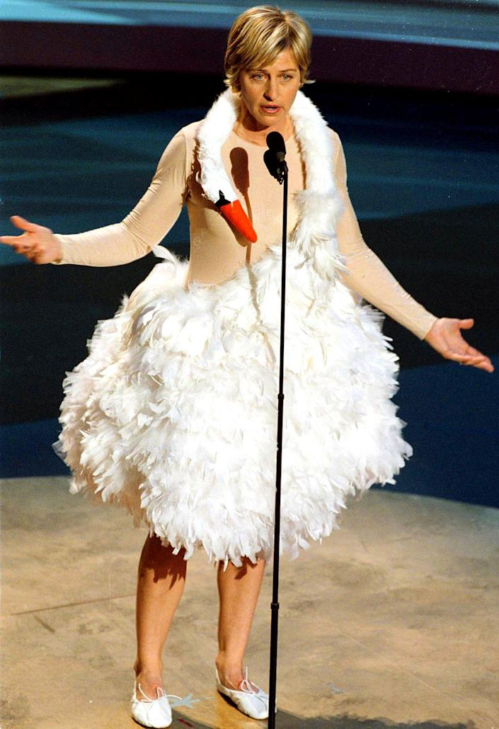 <p>Ellen DeGeneres hosted the night's festivities, even rocking a replica of Björk's 2001 Oscar dress for the occasion. </p>