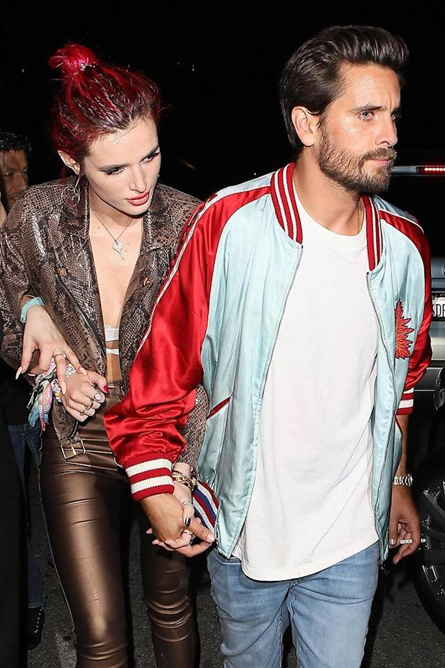 <p>So, wait, are Bella and Scott a thing again? The Disney Channel alum said the <i>Keeping Up With the Kardashians</i> star was partied too hard for her liking, but that didn't stop her from holding hands with him as they left Lana Del Rey's birthday bash together. (Photo: BACKGRID) </p>