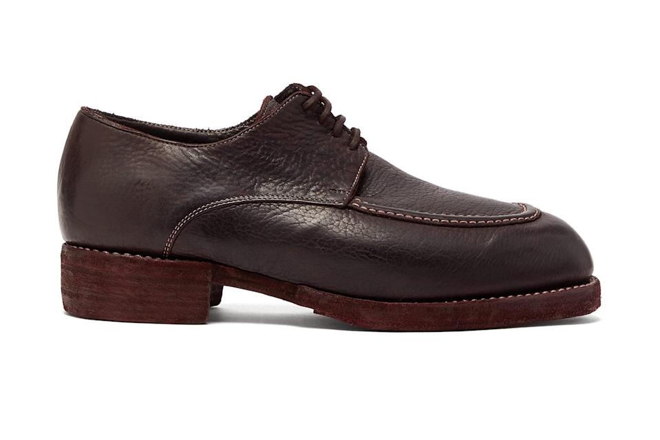 """$1200, Matches Fashion. <a href=""""https://www.matchesfashion.com/us/products/Guidi-Bison-grained-leather-derby-shoes-1299309"""" rel=""""nofollow noopener"""" target=""""_blank"""" data-ylk=""""slk:Get it now!"""" class=""""link rapid-noclick-resp"""">Get it now!</a>"""