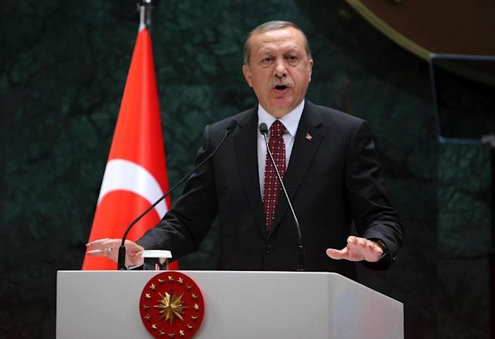 President of Turkey Recep Tayyip Erdogan accused the US of being dishonest because of its support for the Kurdish YPG militia and its political wing the Democratic Union Party (PYD) (AFP Photo/Adem Altan)