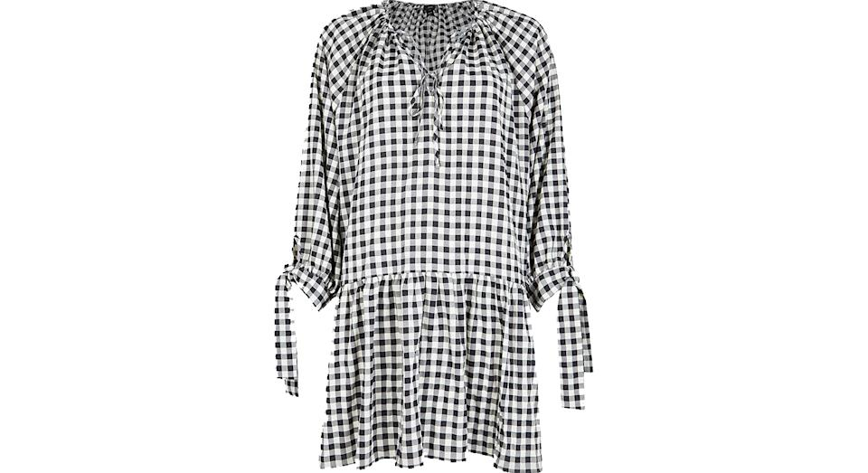 Gingham Tie Neck Smock Dress