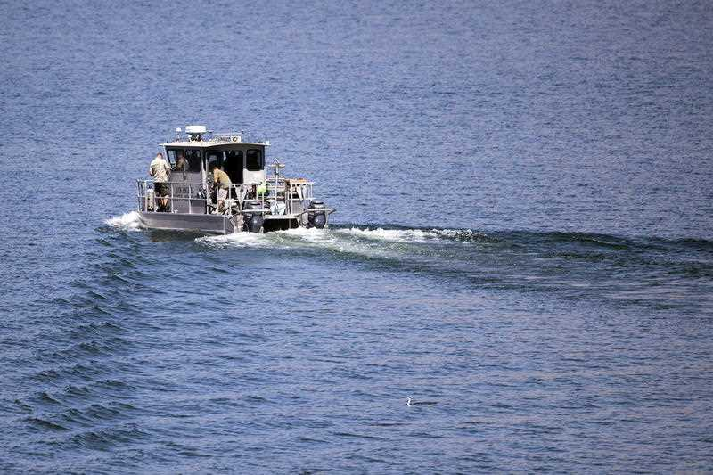 Los Angeles Sheriffs Department boat looks for missing US actress Naya Rivera on Lake Piru as searches continue after her disappearance while boating with her young son in Los Padres National Forest, California.