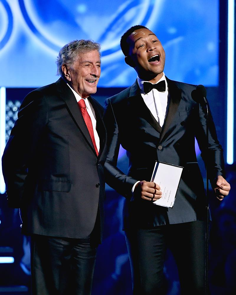 Recording artists Tony Bennett and John Legend speak onstage during the 60th Annual Grammy Awards at Madison Square Garden on Jan. 28, 2018 in New York City. Theo Wargo—WireImage/Getty Images