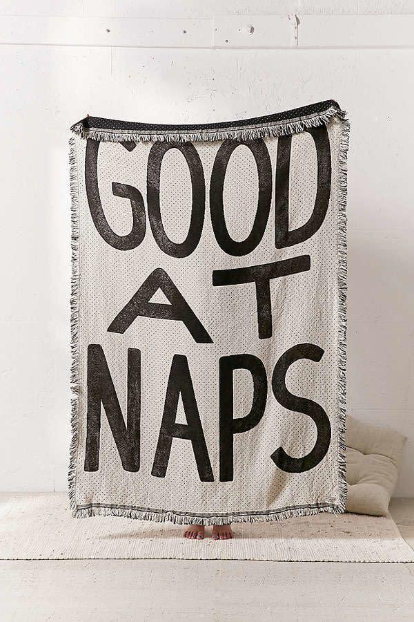 "<i>Buy it from <a href=""https://www.urbanoutfitters.com/shop/calhoun-co-good-at-naps-throw?category=holiday-decoration-gifts&amp;color=012"" rel=""nofollow noopener"" target=""_blank"" data-ylk=""slk:Urban Outfitters"" class=""link rapid-noclick-resp"">Urban Outfitters</a> for&nbsp;$108.</i>"