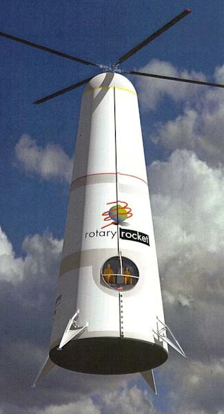 Rotary Rocket Company spaceship was a novel single-stage-to-orbit launch vehicle that used a rocket-tipped rotor propulsion system.