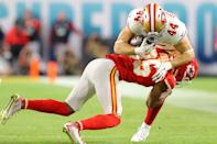 MIAMI, FLORIDA - FEBRUARY 02: Kyle Juszczyk #44 of the San Francisco 49ers catches a pass against Charvarius Ward #35 of the Kansas City Chiefs during the third quarter in Super Bowl LIV at Hard Rock Stadium on February 02, 2020 in Miami, Florida. (Photo by Kevin C. Cox/Getty Images)