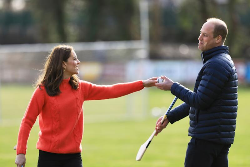 GALWAY, IRELAND - MARCH 05: Prince William, Duke of Cambridge and Catherine, Duchess of Cambridge visit Salthill GAA club and participate in some hurling and gaelic football on the third day of their first official visit to Ireland on March 5, 2020 in Galway, Ireland. (Photo by Julien Behal/Pool/Samir Hussein/WireImage)
