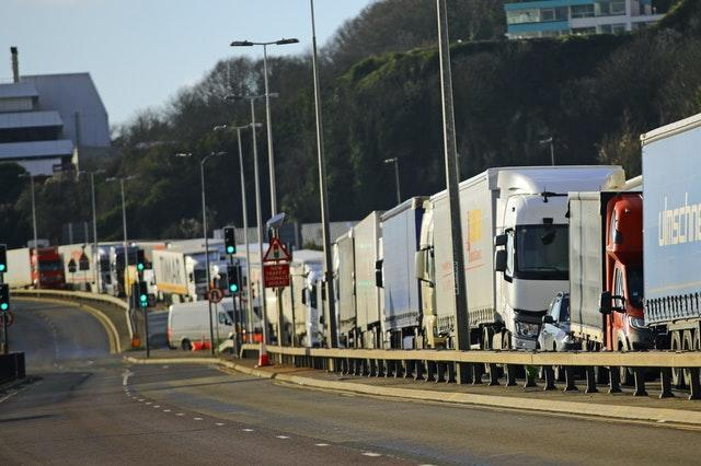 Freight lorries queue to enter the Port of Dover