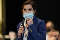 Virginia State Sen. Jill Vogel, R-Fauquier, adjusts her mask during debate on a bill calling for the removal of the statue of former Senator Harry F. Byrd Sr. from Capitol Square during the Senate session at the Science Museum of Virginia in Richmond, Va., Tuesday, Feb. 23, 2021. (AP Photo/Steve Helber)
