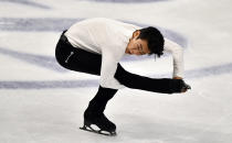 Nathan Chen of the USA performs during the Men Short Program at the Figure Skating World Championships in Stockholm, Sweden, Thursday, March 25, 2021. (AP Photo/Martin Meissner)