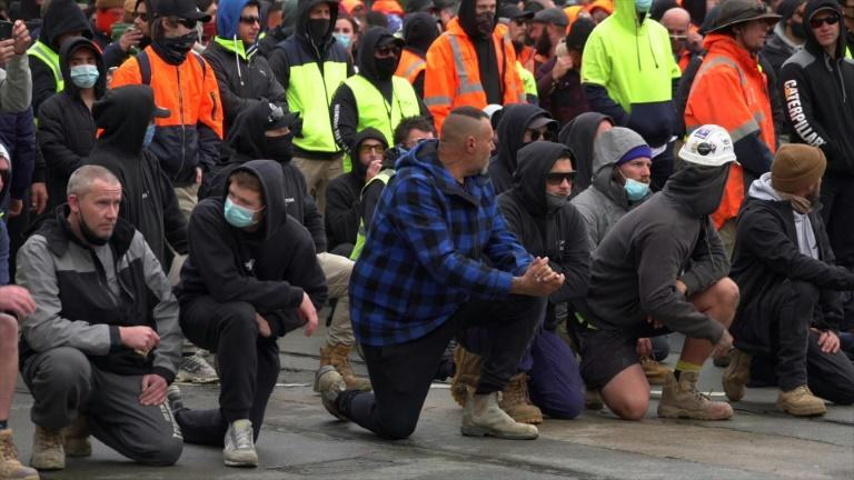 Australia: Protest against vaccine mandate for construction workers (AFP/Tania LEE)