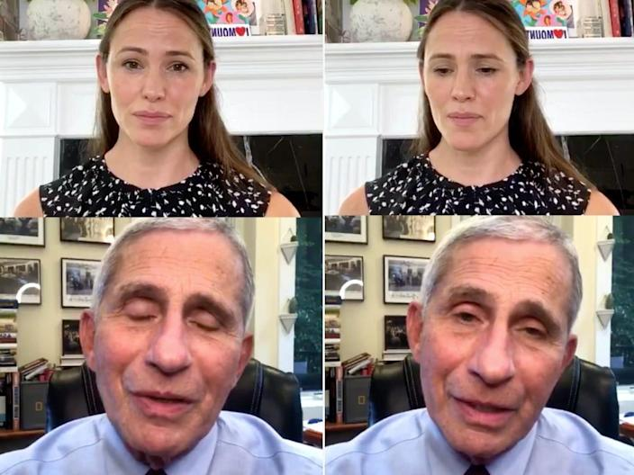 "Dr. Anthony Fauci and Jennifer Garner on an Instagram Live broadcast on Wednesday. <p class=""copyright"">Jennifer Garner /Instagram</p>"