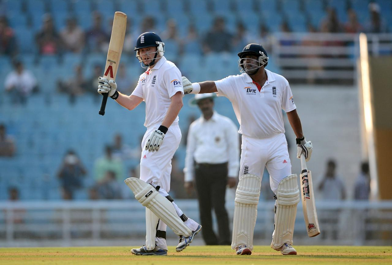 MUMBAI, INDIA - NOVEMBER 03:  Jonathan Bairstow of England is congratulated by Samit Patel after reaching his century during day one of the tour match between Mumbai A and England at The Dr D.Y. Palit Sports Stadium on November 3, 2012 in Mumbai, India.  (Photo by Gareth Copley/Getty Images)