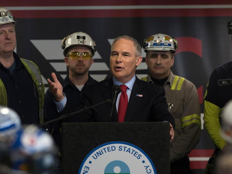 US Environmental Protection Agency Administrator Scott Pruitt speaks with coal miners at the Harvey Mine on 13 April 2017 Sycamore, Pennsylvania: Justin Merriman/Getty Images