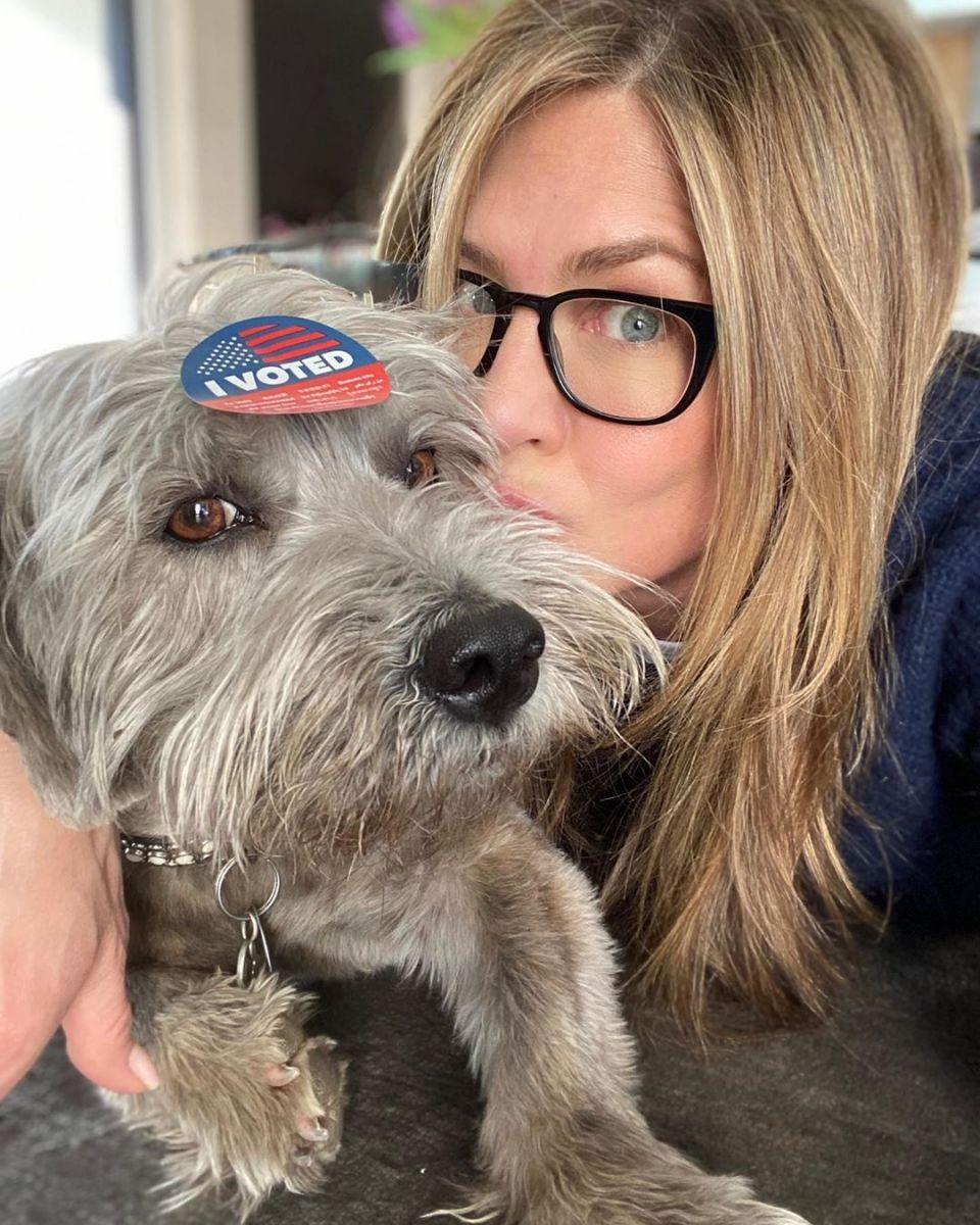 Jen's dog Clyde made an appearance in March, encouraging her followers to vote. Photo: Instagram/JenniferAniston