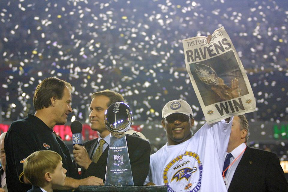 Ray Lewis led one of the greatest defenses in NFL history to a victory in Super Bowl XXXV. (Getty)