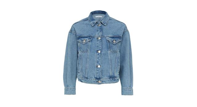 Cropped Elasticated Back Denim Jacket